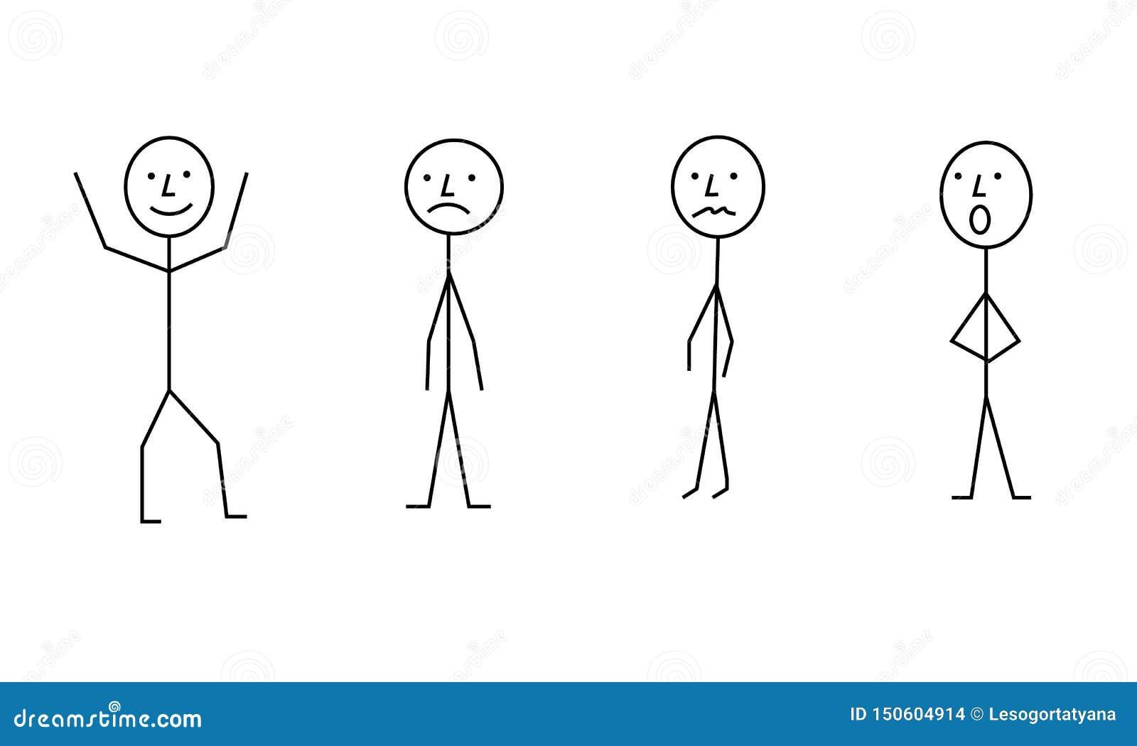 De mensenpictogram van het stokkencijfer, verschillende posec