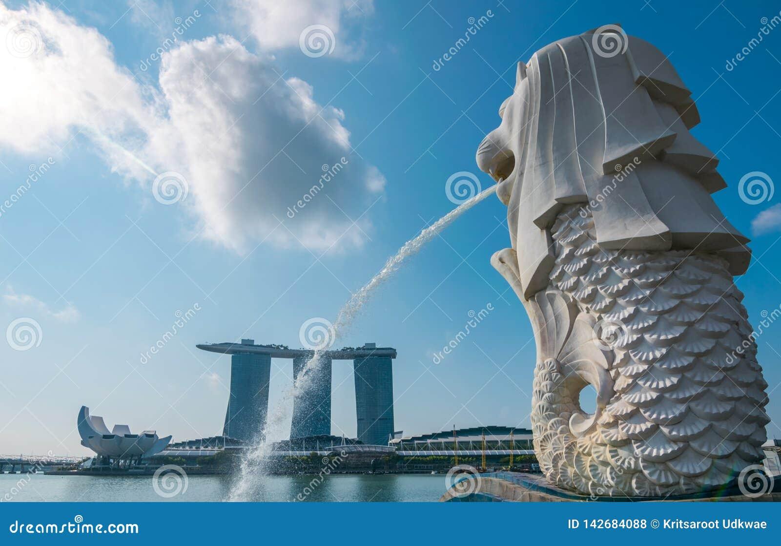 De Merlion-fontein in Singapore