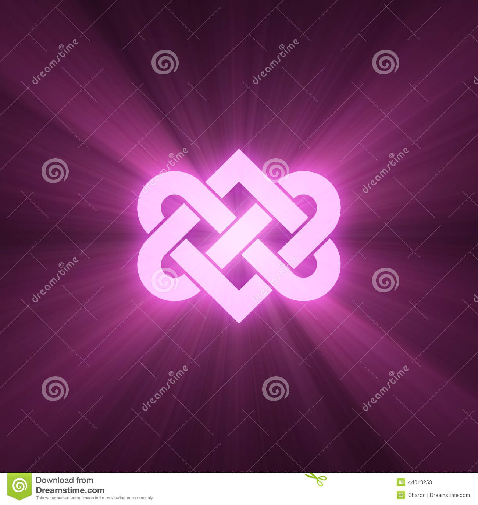 De met elkaar verbindende hartknoop glanst lichte gloed