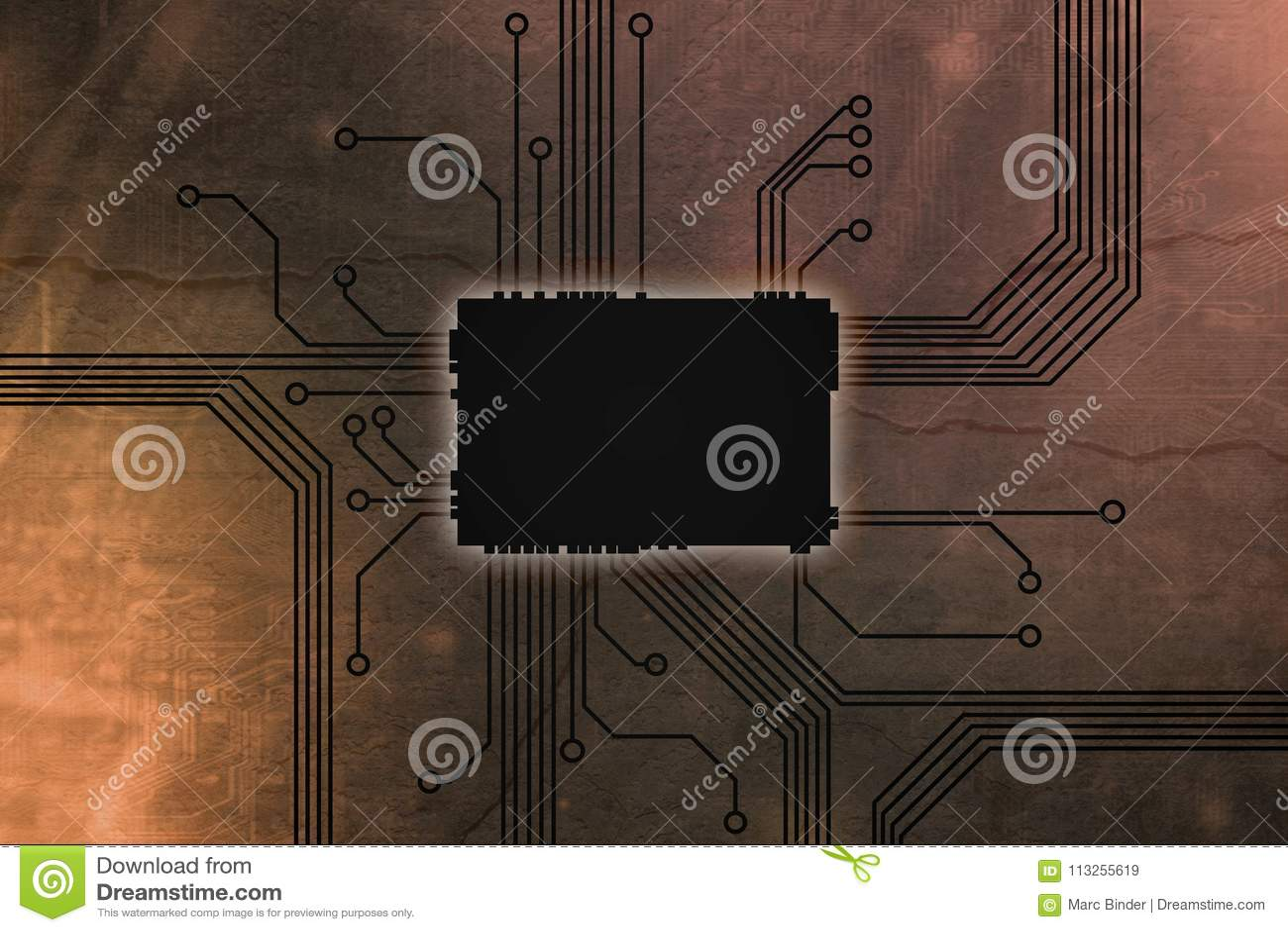 De metaal Gekleurde kern van de digitale computerspaander