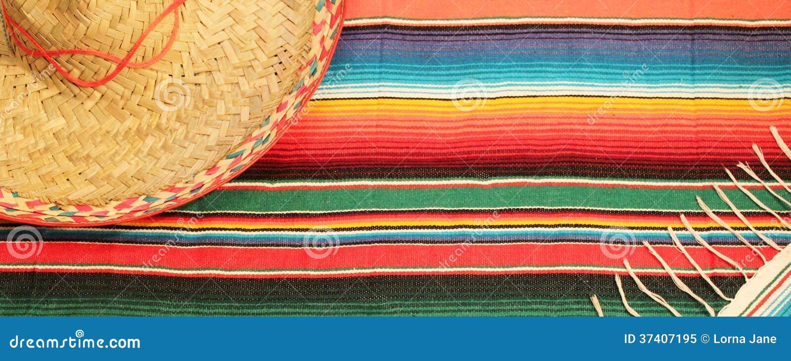 De Mexicaanse deken van de fiestaponcho in heldere kleuren met sombrero