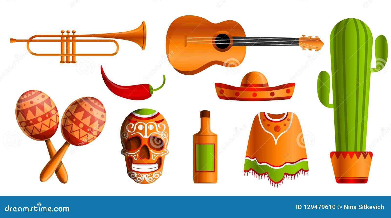 De Mexicaanse reeks van het muziekpictogram, beeldverhaalstijl