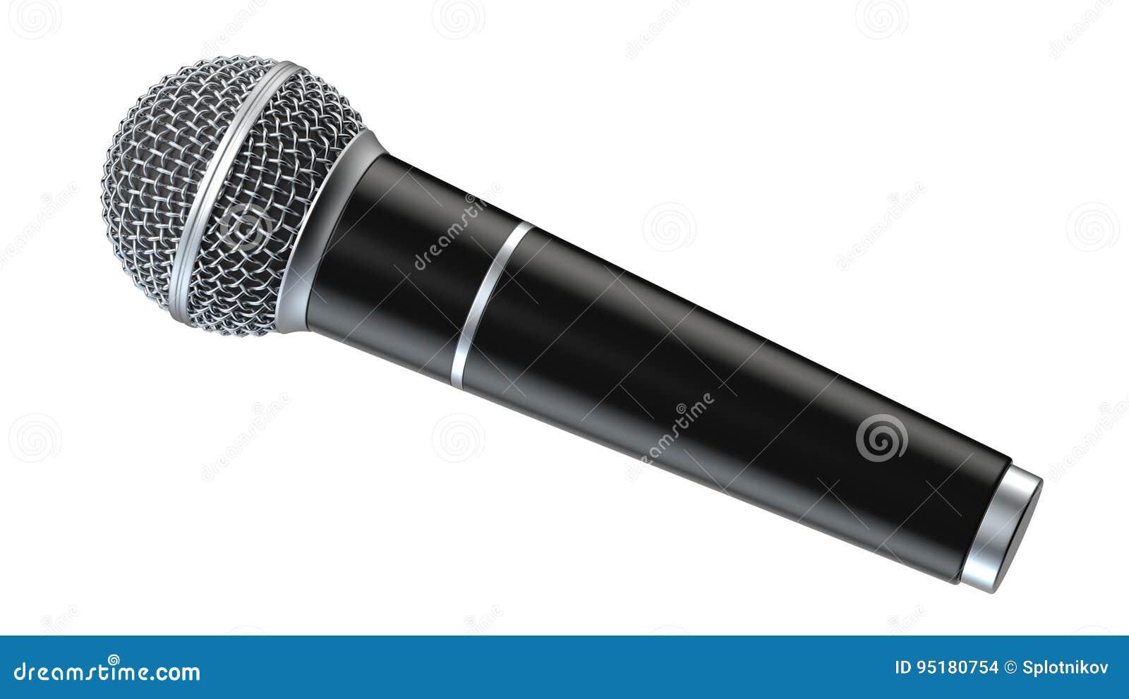 De microfoon op witte 3D die achtergrond wordt geïsoleerd geeft terug