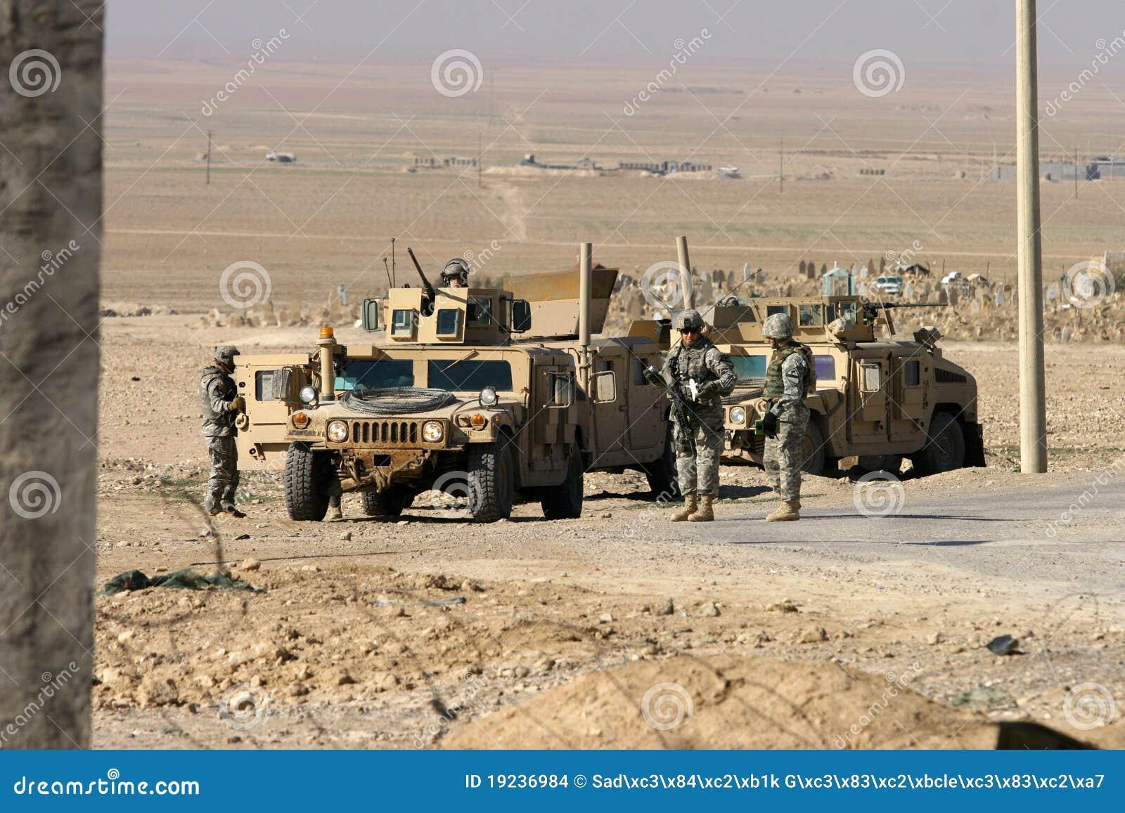 De Militairen van het Leger van de V.S. in Irak