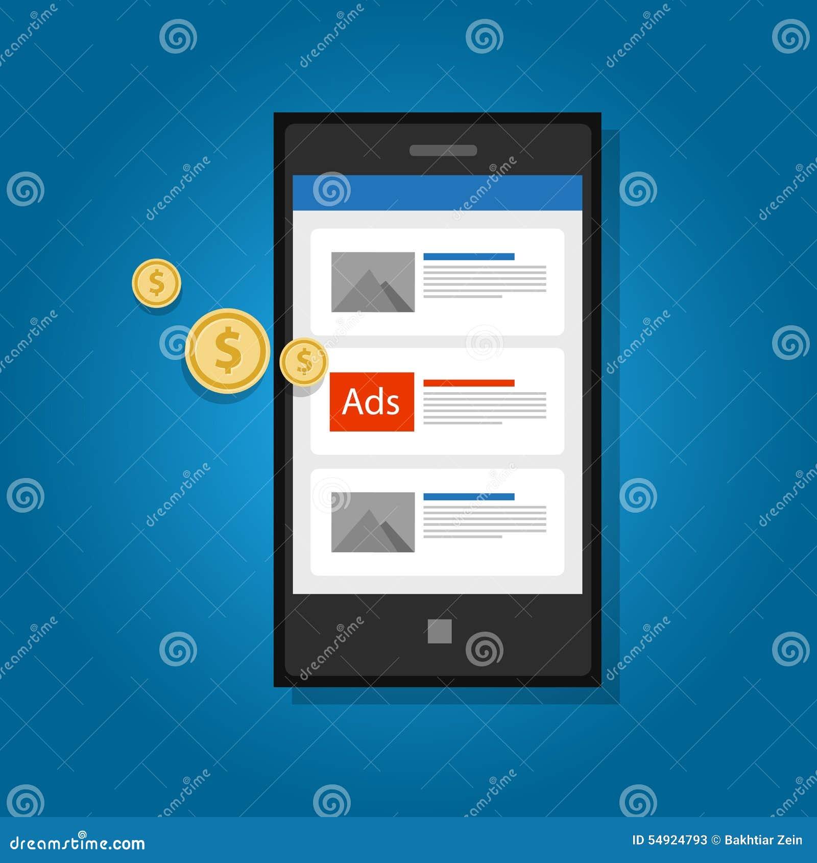 De mobiele advertenties die telefoon adverteren klikken digitaal