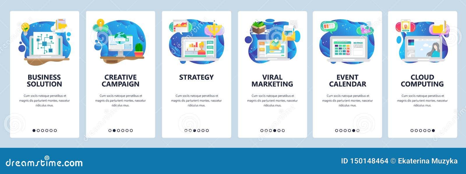 De mobiele toepassing onboarding schermen businessplan en strategie, virale marketing, e-mail, gebeurteniskalender Menu vectorban