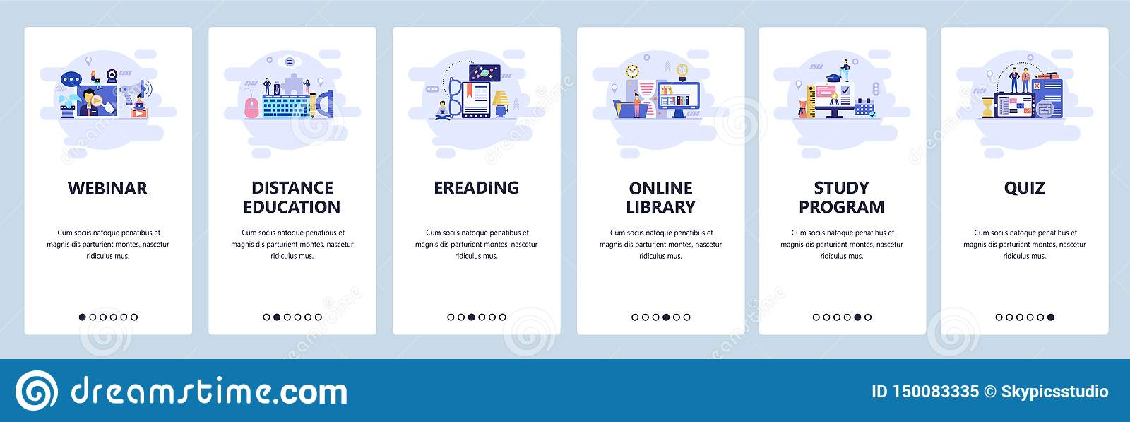 De mobiele toepassing onboarding schermen Online onderwijs, webinar, e-bibliotheek en lezing, quiz Malplaatje van de menu het vec
