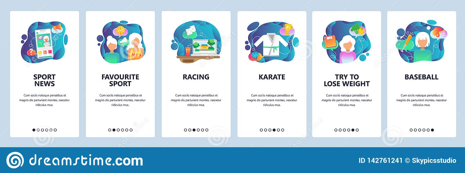 De mobiele toepassing onboarding schermen De online uitzending van het sportspel op mobiele telefoon Karate, honkbal, het rennen