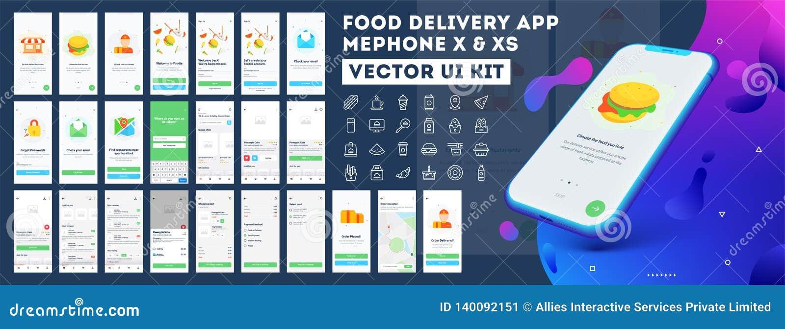 De mobiele toepassing ui uitrusting van de voedsellevering met inbegrip van registreren, voedselmenu, het boeken en de huisdienst