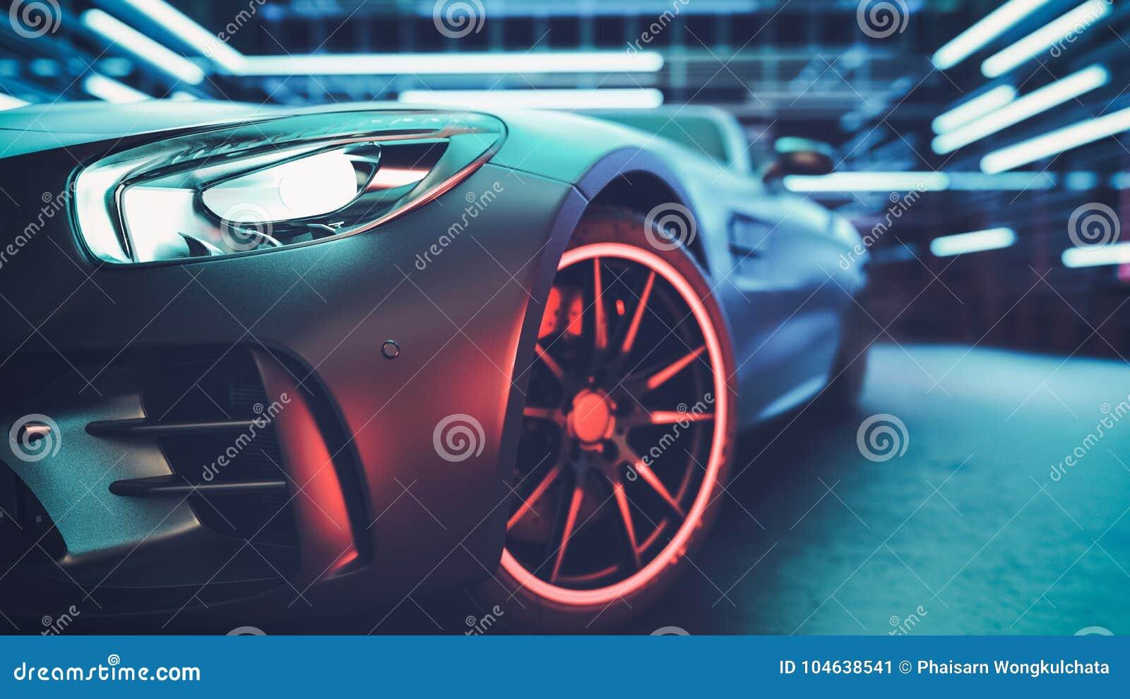 Download De Moderne Auto's Zijn In De Studioruimte Stock Illustratie - Illustratie bestaande uit donker, internationaal: 104638541