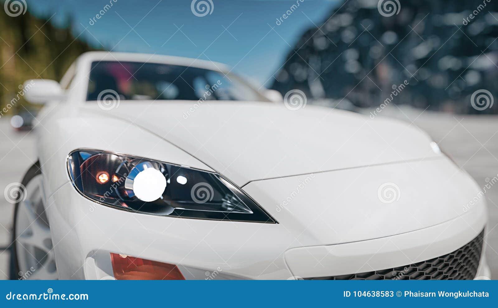 Download De Moderne Autovoorzijde Is Op De Straat Stock Illustratie - Illustratie bestaande uit landschap, kromme: 104638583