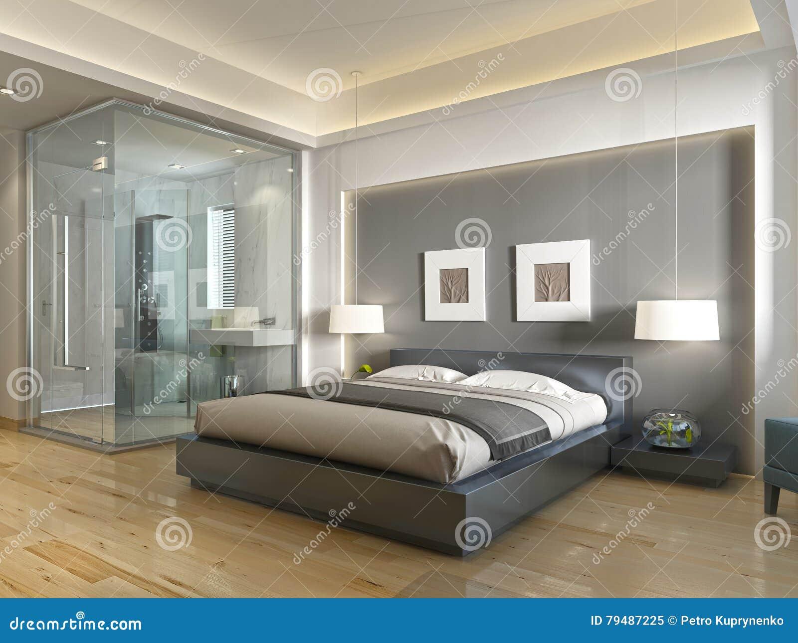 De moderne eigentijdse stijl van de hotelruimte met elementen van