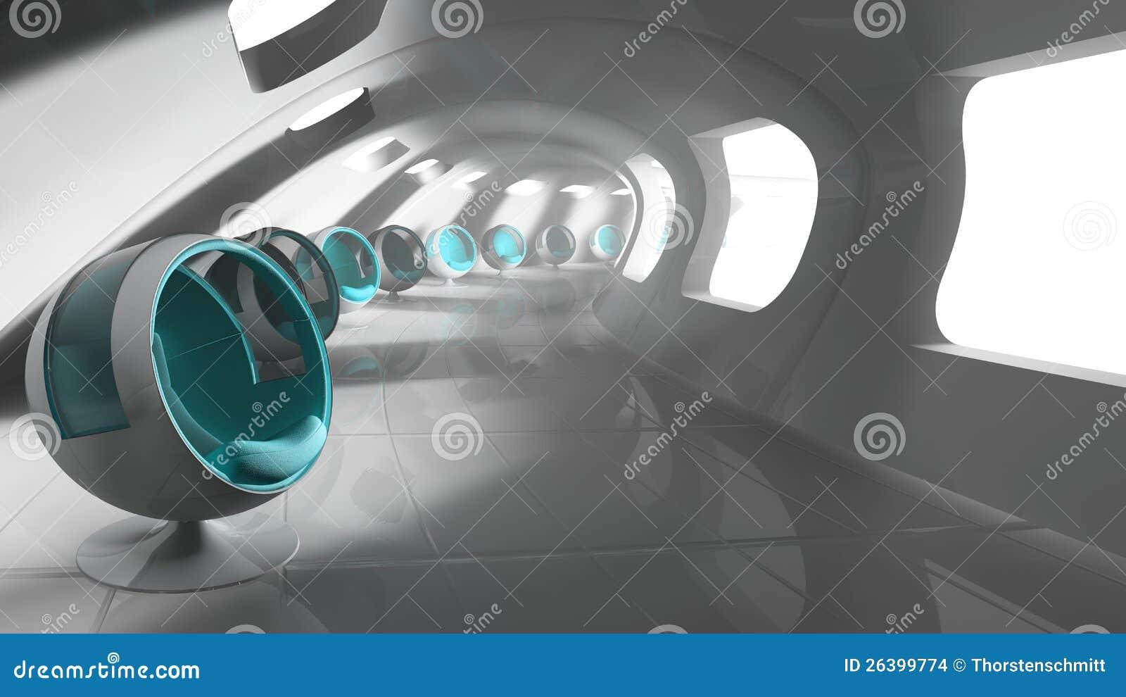 De moderne futuristische bouw met zetels