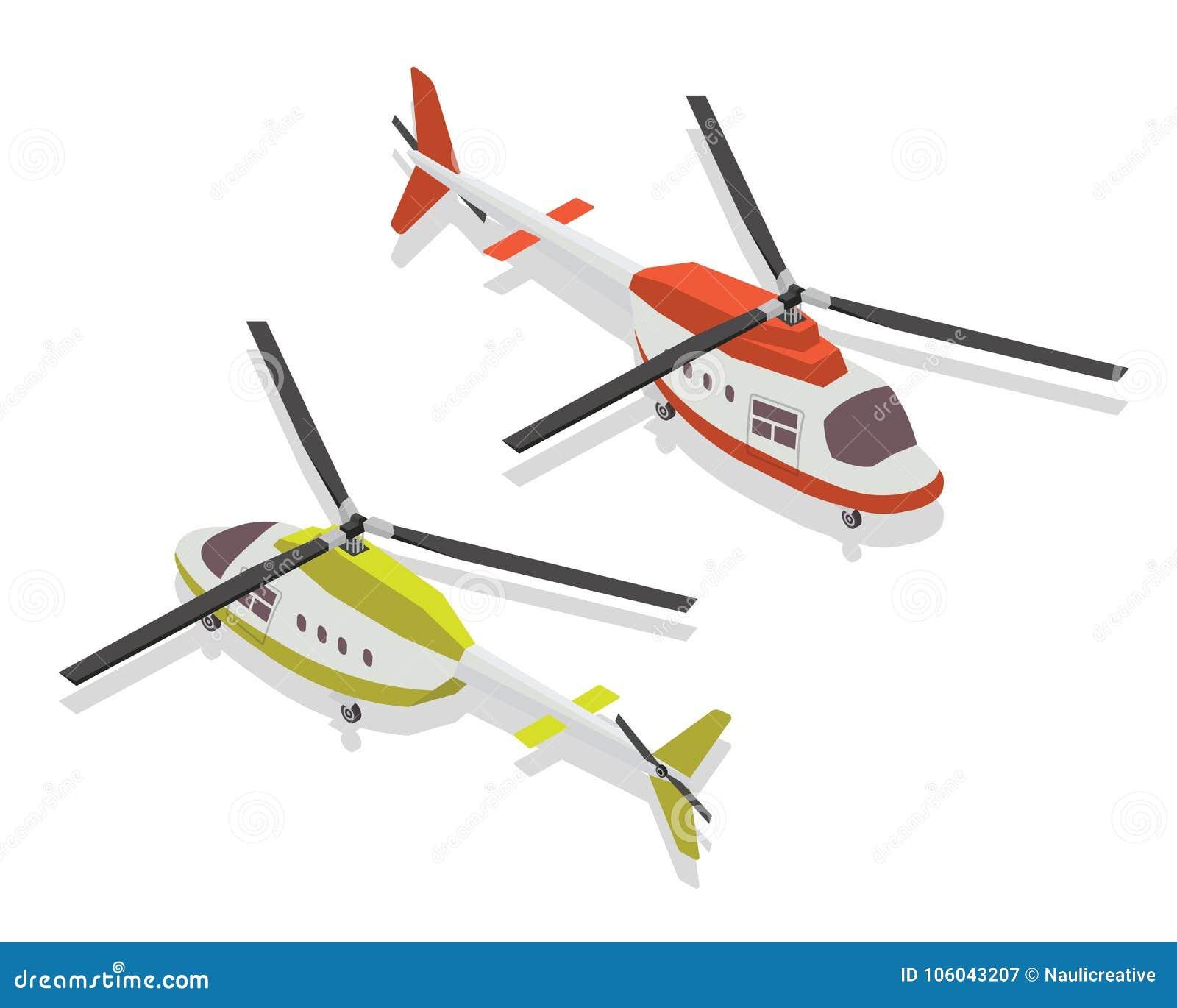De moderne Isometrische Illustratie van het Helikopterluchtvervoer