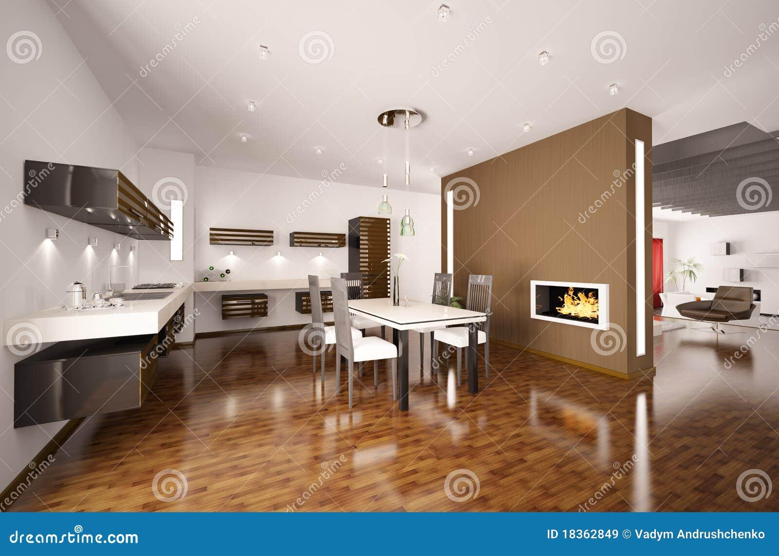 De moderne keuken met 3d open haard geeft terug royalty for Amenagement cuisine 3d