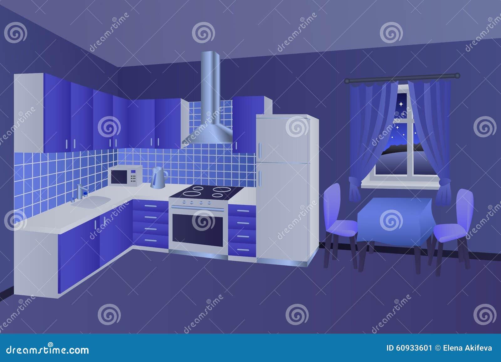 De moderne van de de nacht blauwe lijst van de keuken binnenlandse