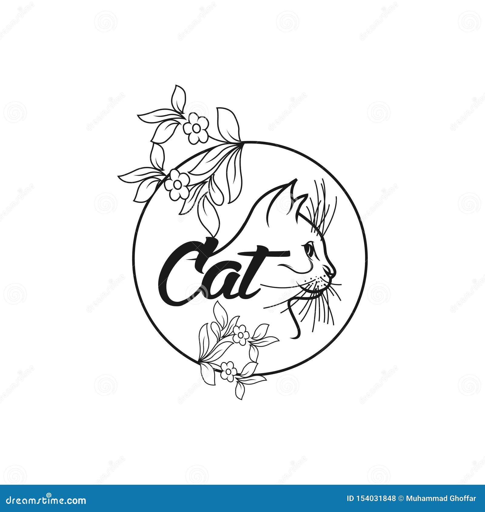 De moderne vector eenvoudige illustratie van het kattenembleem