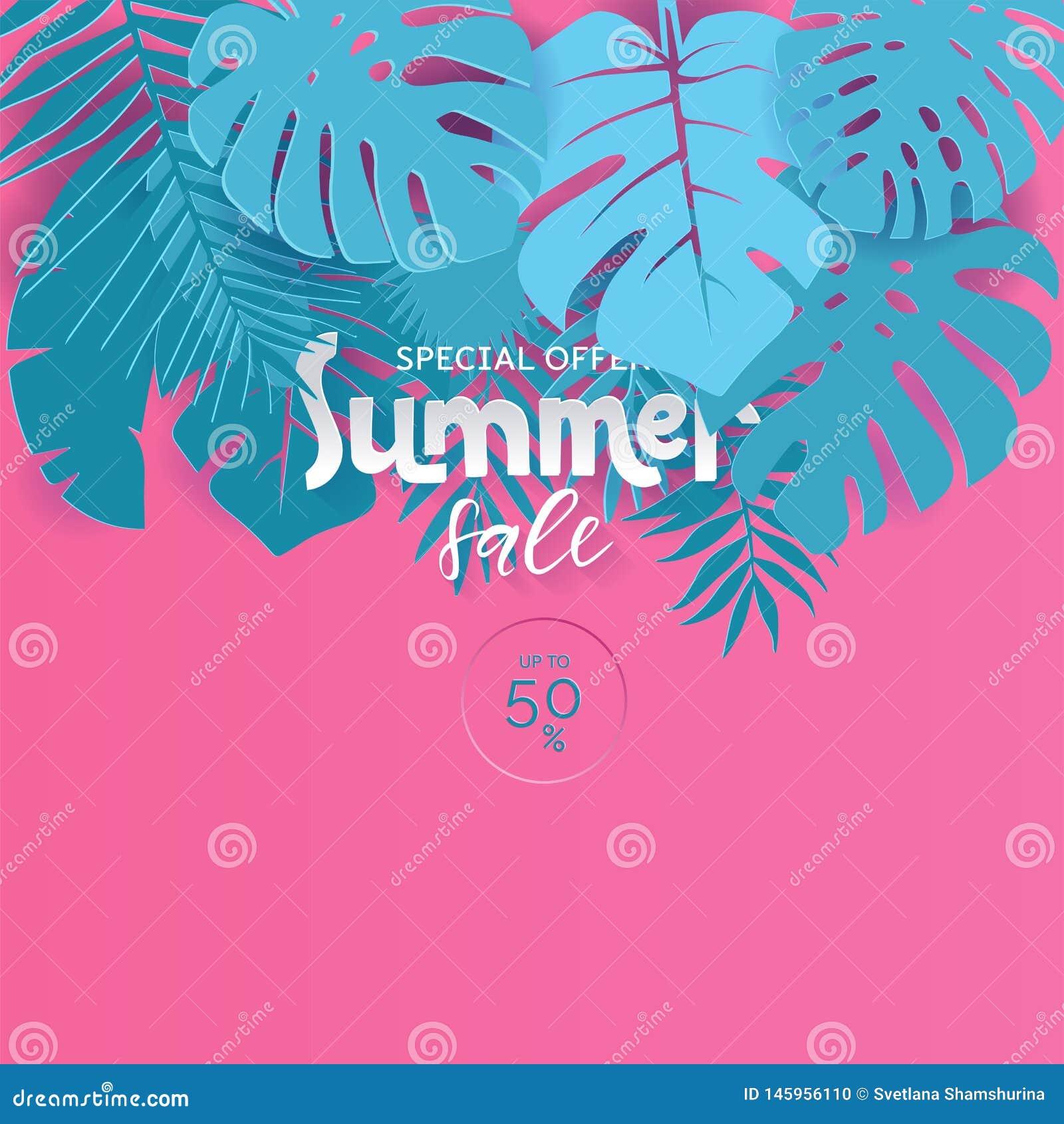 De moderne vectorverkoop van de affichezomer voor speciale aanbieding Het roze en blauwe Document sneed stijlillustratie voor aff