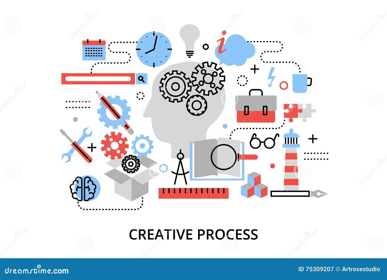 De moderne vlakke dunne vectorillustratie van het lijnontwerp, concept creatief proces, het bepalen en onderzoekprobleem