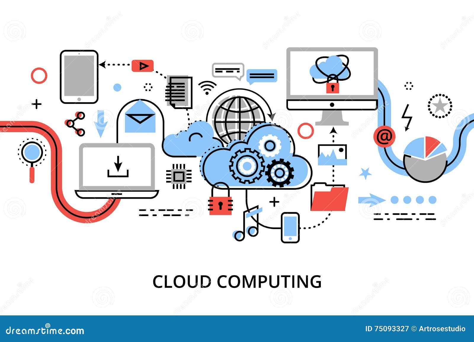 De moderne vlakke dunne vectorillustratie van het lijnontwerp, concept wolk gegevensverwerkingstechnologieën, beschermt computern