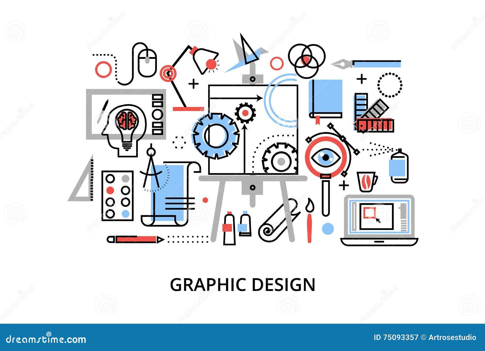 De moderne vlakke dunne vectorillustratie van het lijnontwerp, infographic concept grafisch ontwerp, ontwerperpunten en hulpmidde