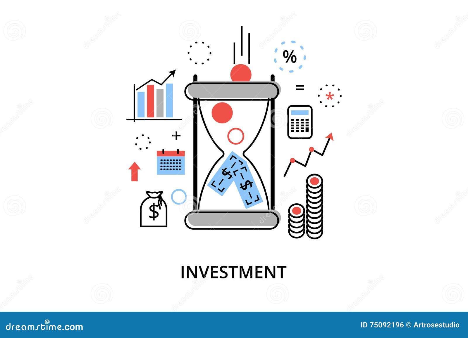 De moderne vlakke dunne vectorillustratie van het lijnontwerp, infographic concept met pictogrammen van het investeren aan zaken