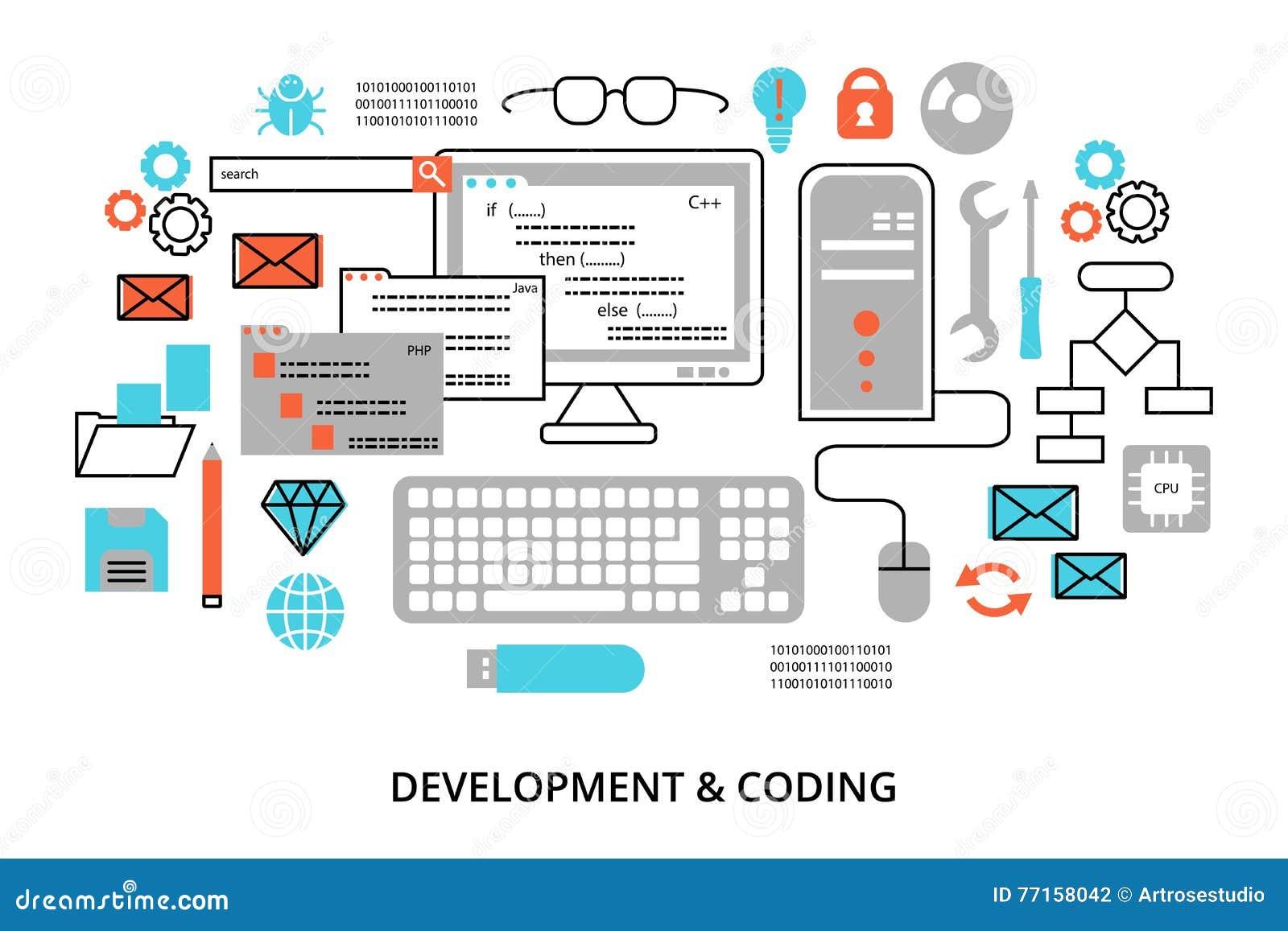 De moderne vlakke editable vectorillustratie van het lijnontwerp, concept programmering, ontwikkelingssoftware en het coderen pro