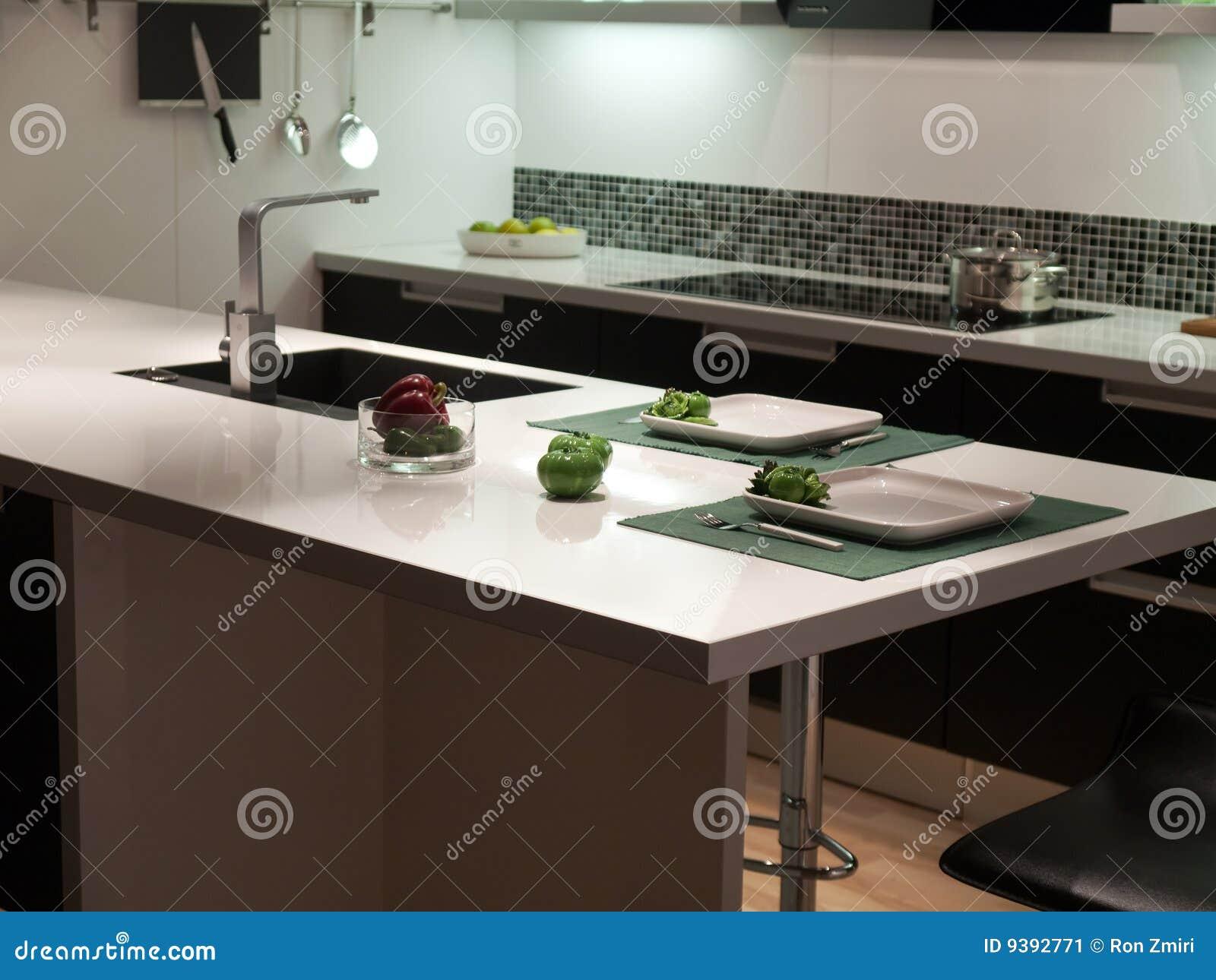 De moderne zwart witte keuken van het stijl trendy ontwerp stock afbeelding afbeelding 9392771 - Ontwerp witte keukens ...