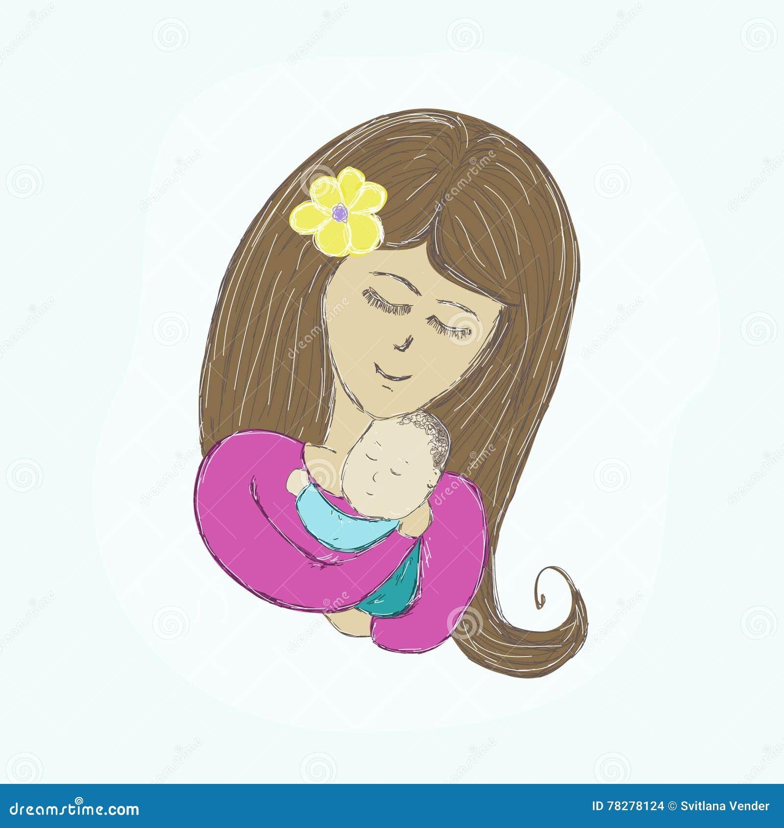 De moeder koestert de verven van het babybeeld op een lichte achtergrond