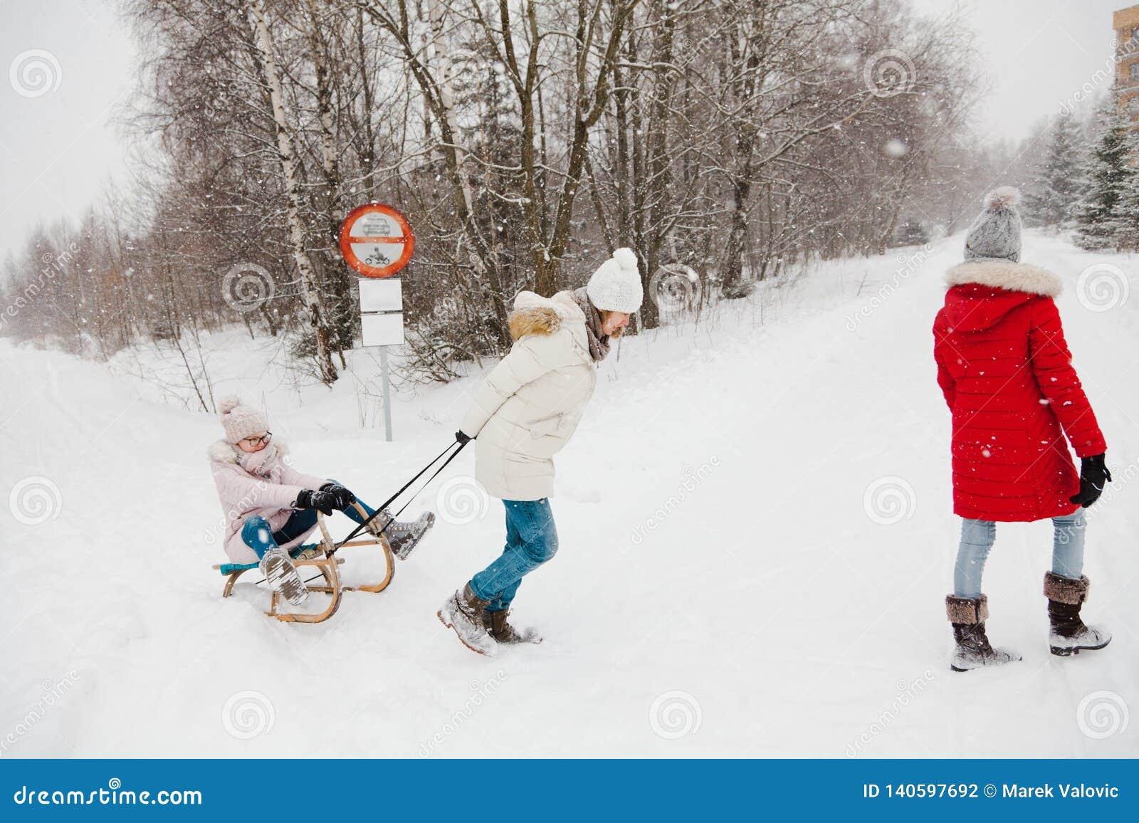 De moeder trekt haar dochter op slee - sneeuwende dag