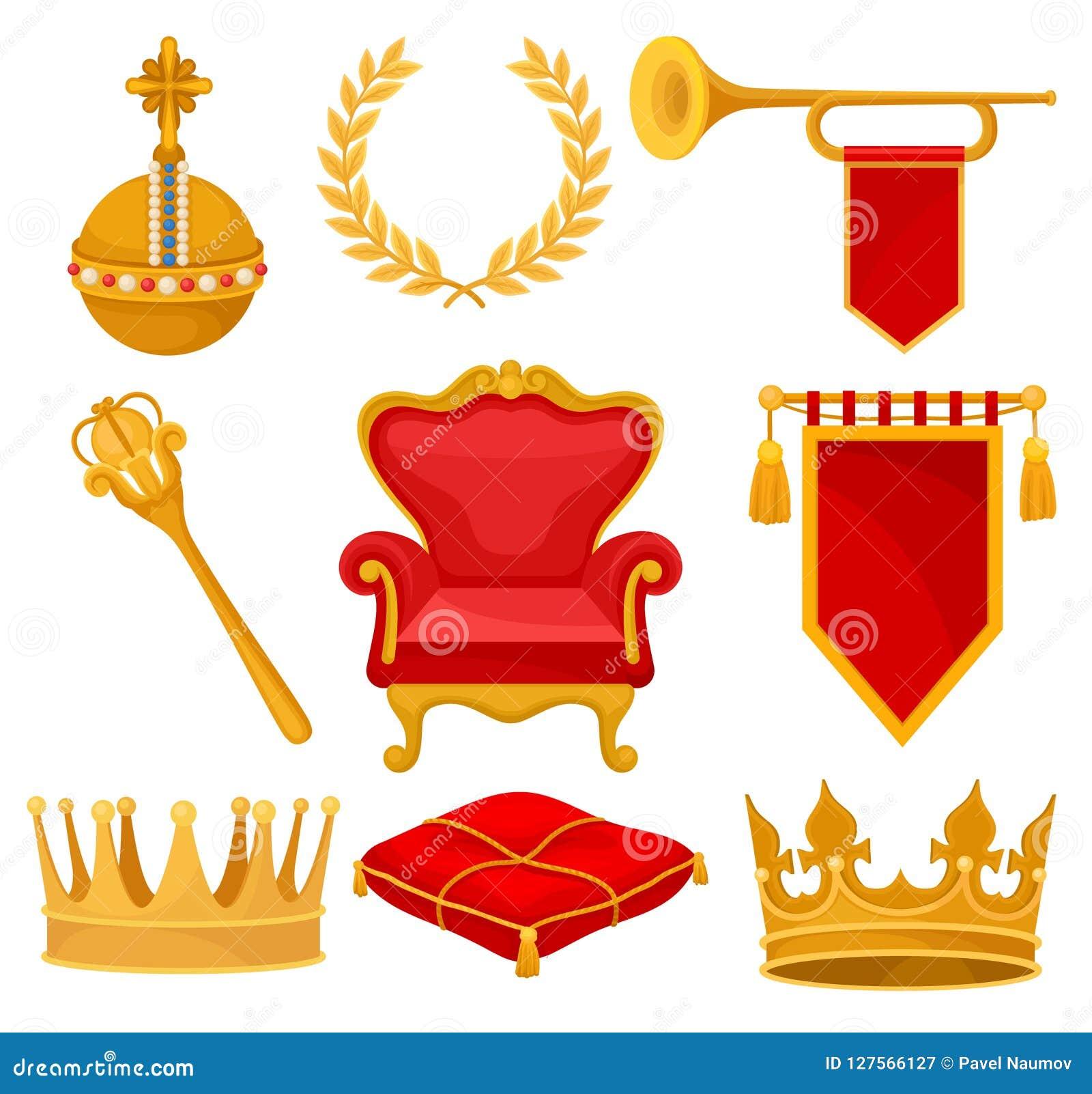 De monarchieattributen plaatsen, gouden orb, lauwerkrans, trompet, troon, scepter, plechtig hoofdkussen, kroon, heraldische vlag,