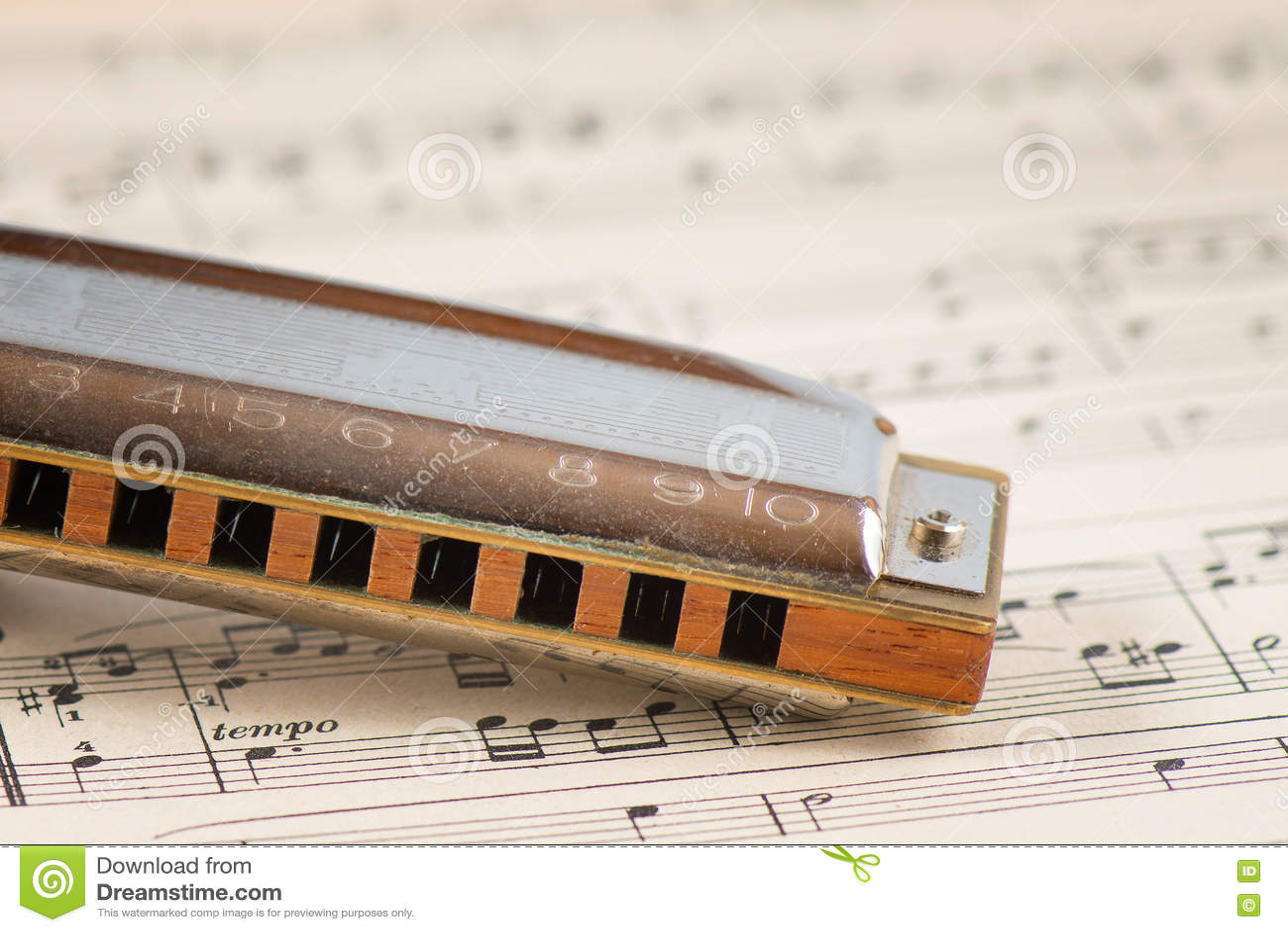 De mond van de blauwharmonika