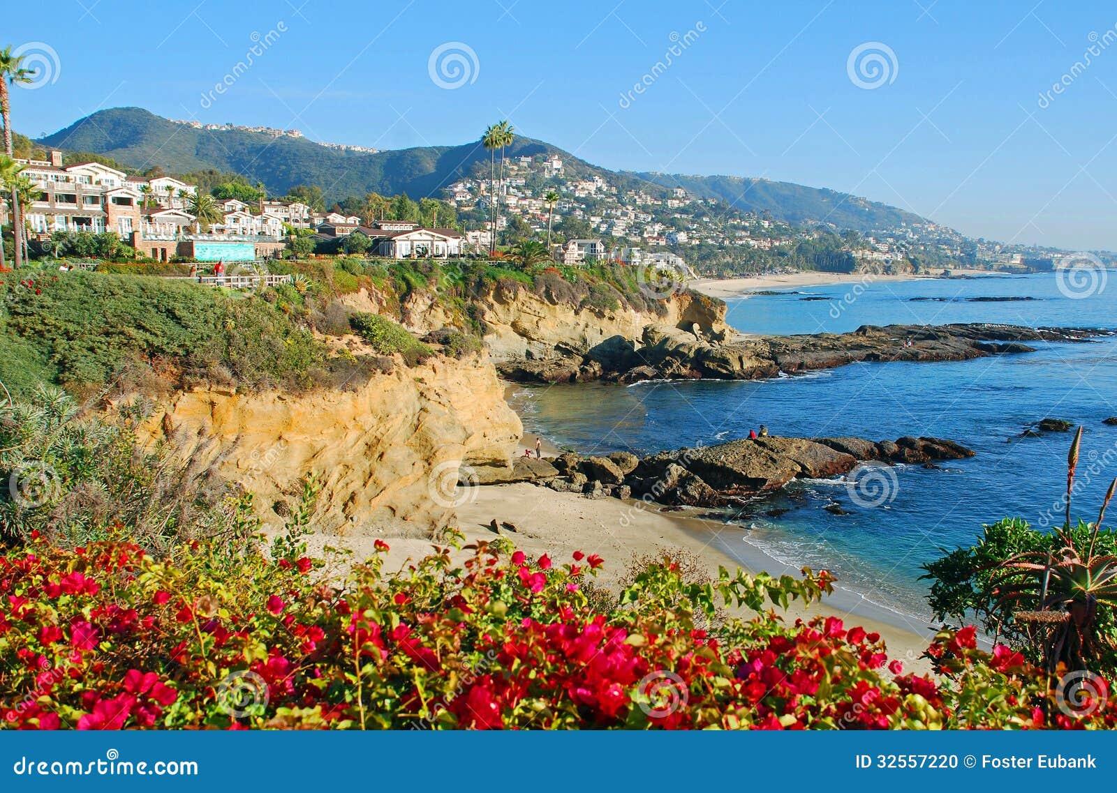 De montering en de stranden in Laguna Beach, Californië