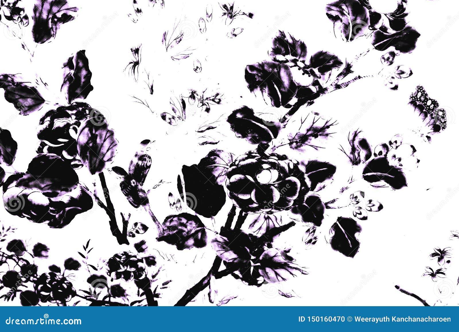 De mooie abstracte zwart-witte textuur de de boombladeren en vogels op witte muur isoleerde patroonachtergrond en behang