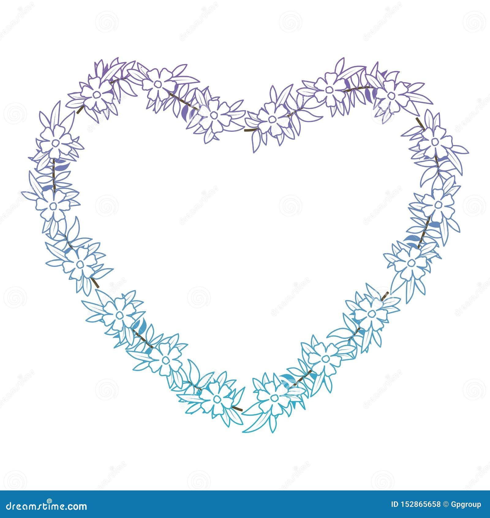 De mooie bloem en doorbladert hart gestalte gegeven kader