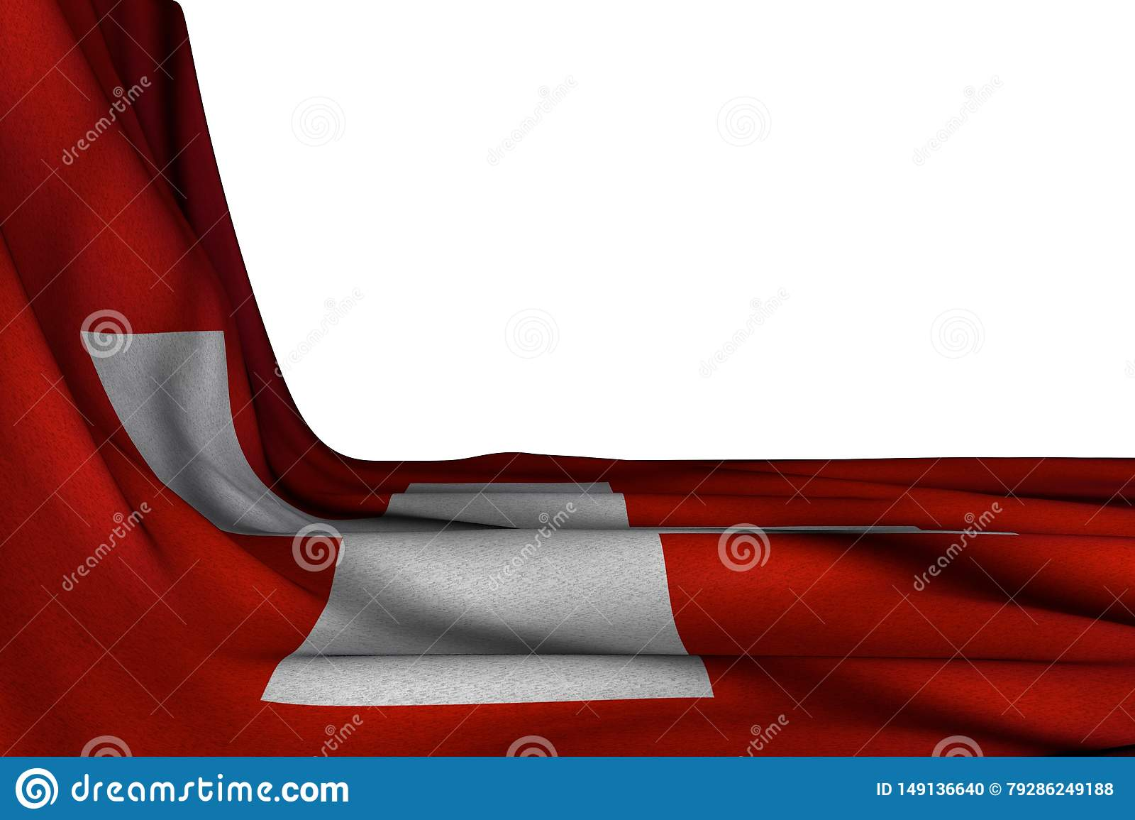 De mooie 3d illustratie van de nationale feestdagvlag - het ge?soleerde model van de vlag van Zwitserland hangt diagonaal op wit