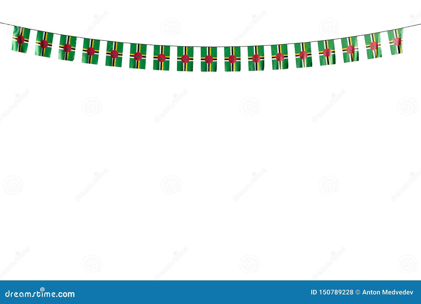 De mooie 3d illustratie van de vakantievlag - die vele Dominica vlaggen of banners hangen op koord op wit wordt geïsoleerd