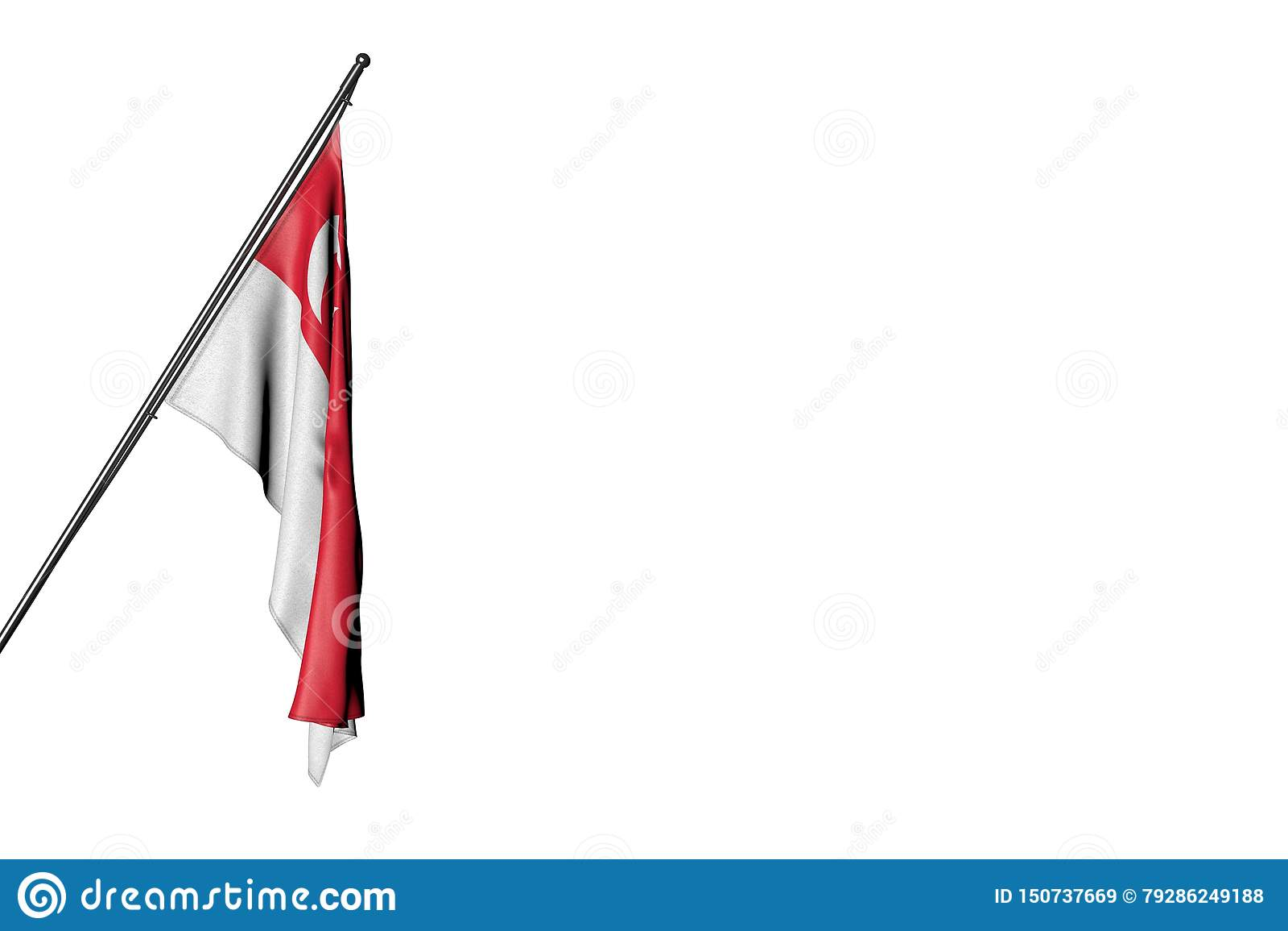 De mooie die 3d illustratie van de nationale feestdagvlag - de vlag van Singapore het hangen op a in hoekpool op wit wordt geïsol