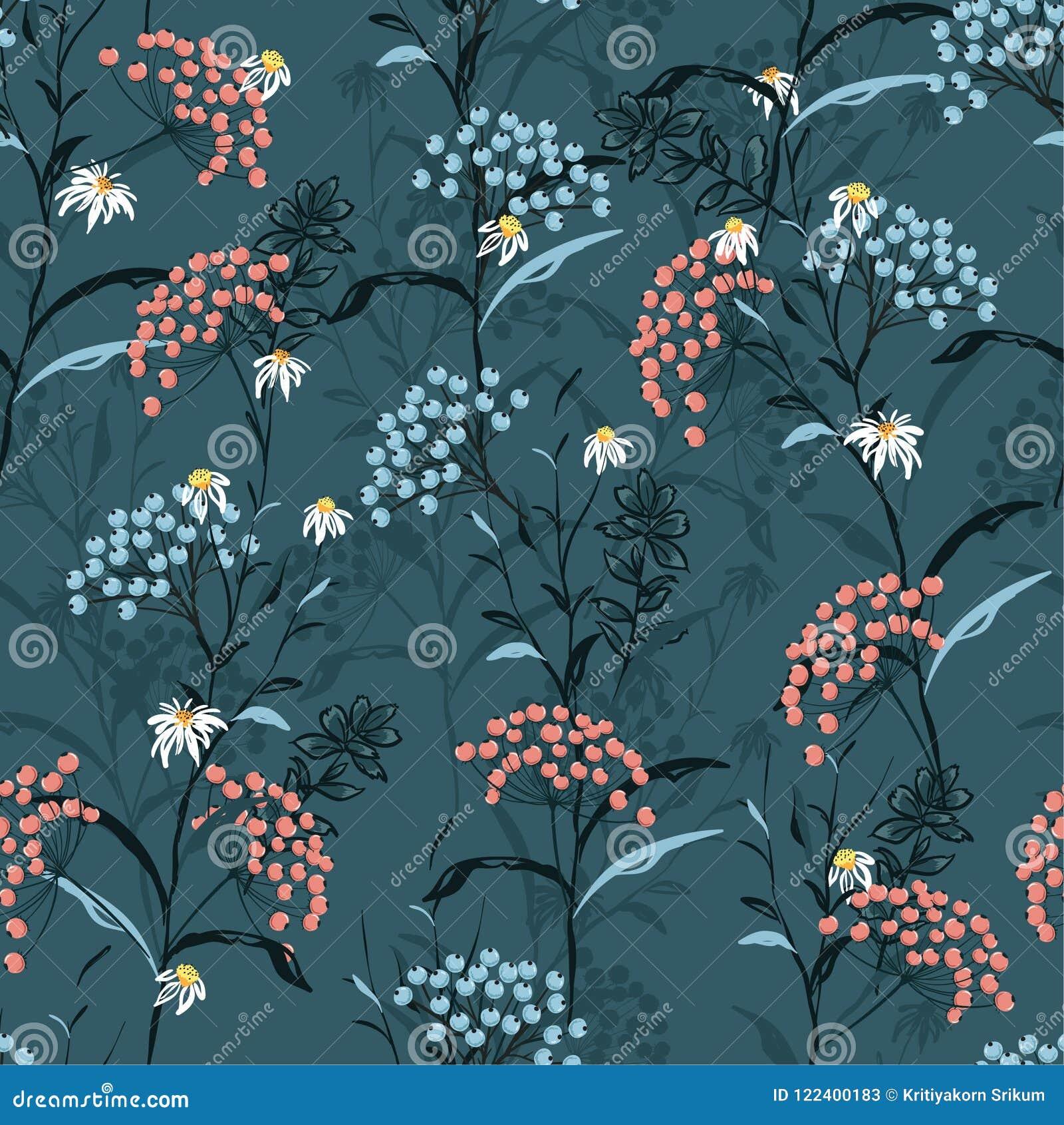 De mooie donkere vector van het de Herfst naadloze patroon met roze en blauw
