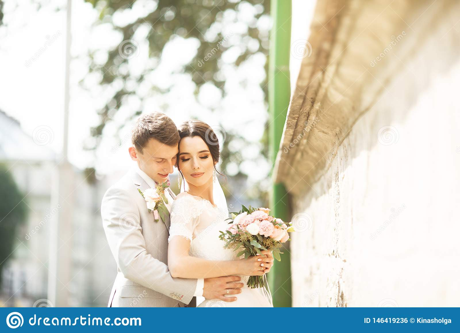 De mooie echtgenoot van het huwelijkspaar in kostuum en de vrouw in huwelijk kleden het stellen dichtbij de bakstenen muur