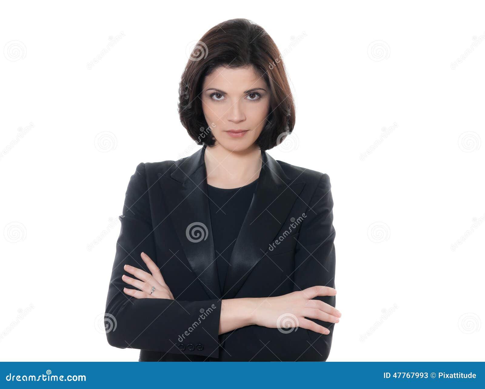 De mooie ernstige Kaukasische gekruiste wapens van het bedrijfsvrouwenportret