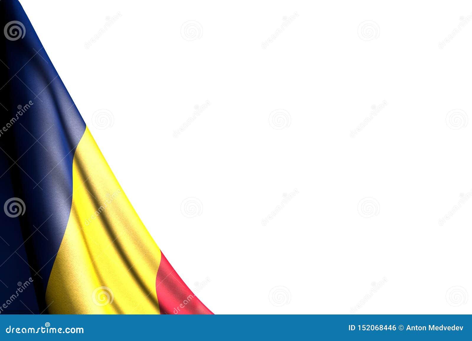 De mooie geïsoleerde foto van de vlag van Tsjaad hangt in hoek - model op wit met plaats voor uw tekst - om het even welke 3d ill