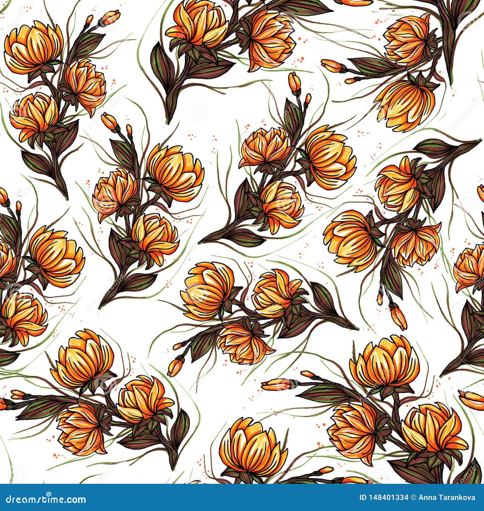 De mooie Grote bloeiende lelie bloeit botanisch naadloos patroonontwerp voor manier, stof, en alle drukken op retro oranje achter