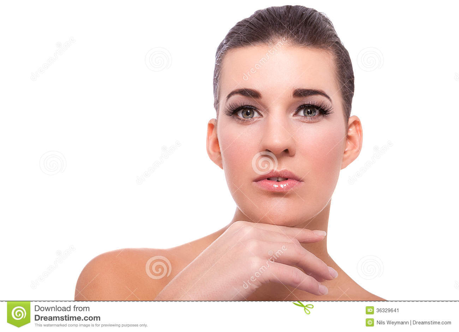 De mooie naakte vrouw in nadenkend stelt