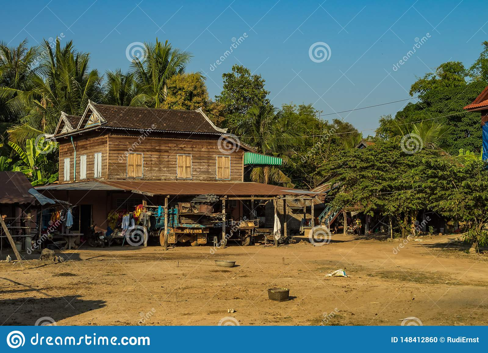 De mooie Plattelandsreis in tropisch platteland, Siem oogst, Kambodja
