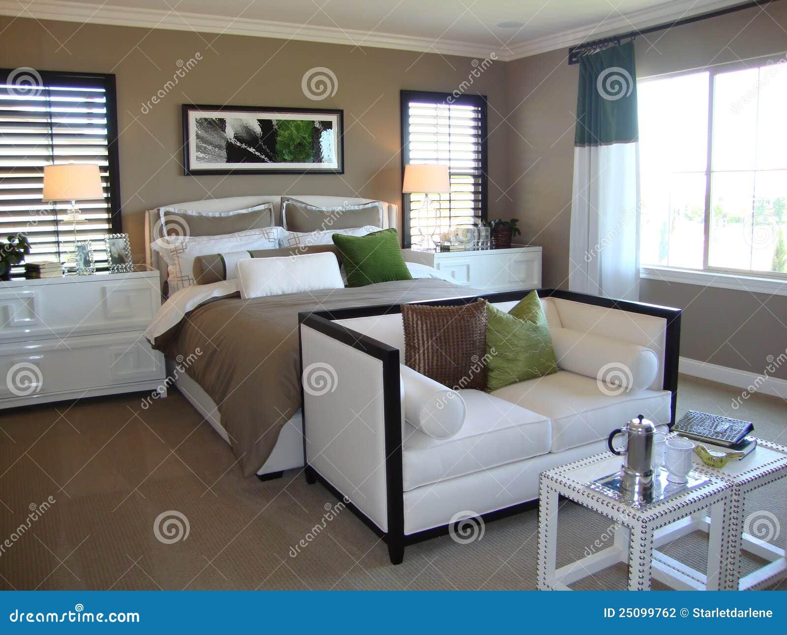 de mooie slaapkamer van de ontwerper stock fotografie  afbeelding, Meubels Ideeën