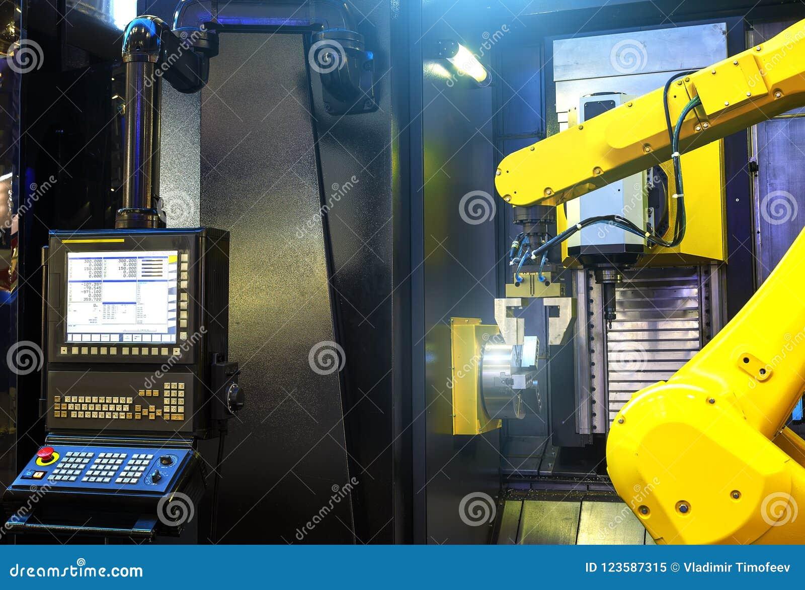 De motieonduidelijk beeld van het robotwapen in werktuigmachine metaalbewerkend proces voor de industrievervaardiging, CNC metaal