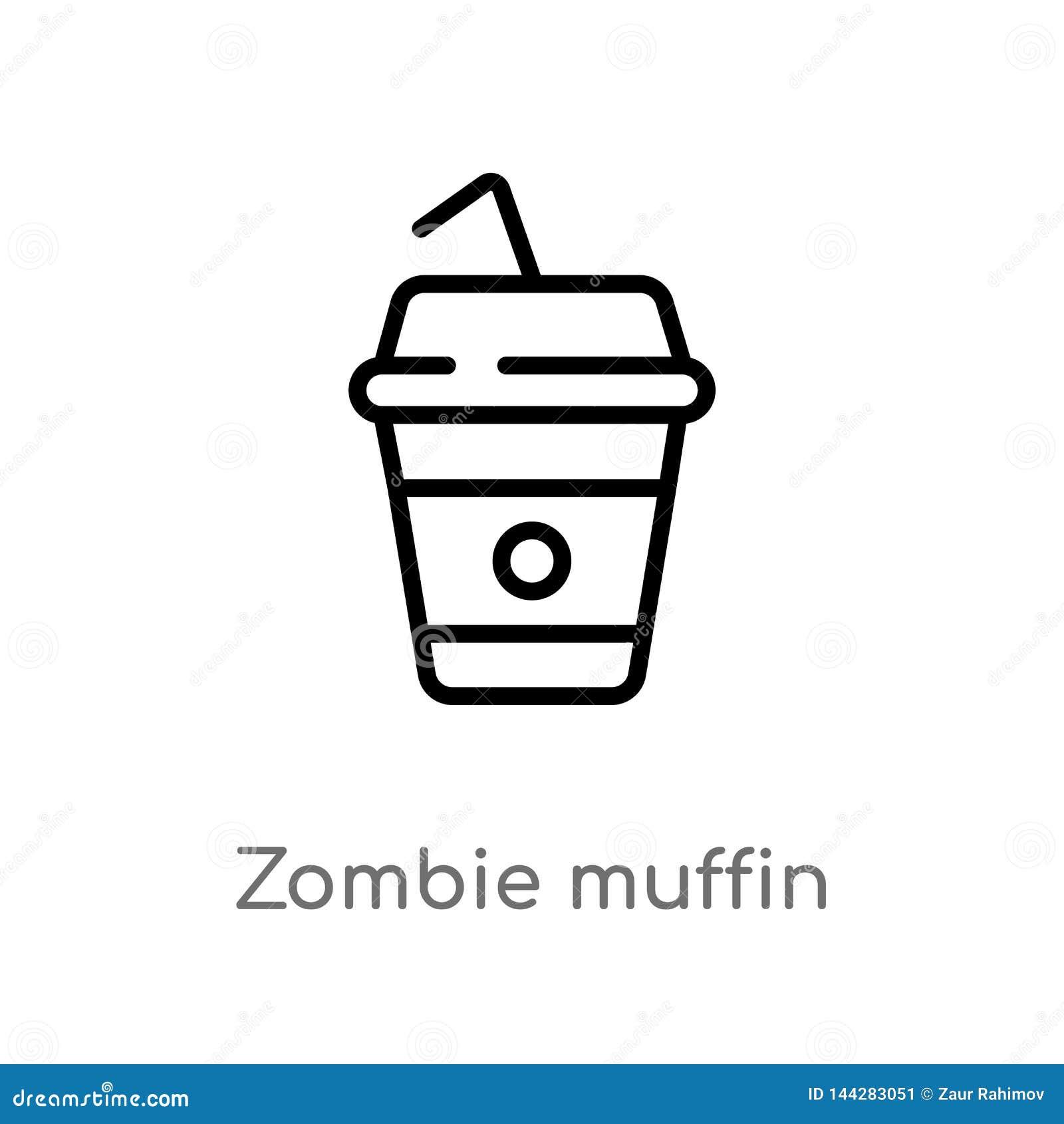 De muffin vectorpictogram van de overzichtszombie de ge?soleerde zwarte eenvoudige illustratie van het lijnelement van voedselcon