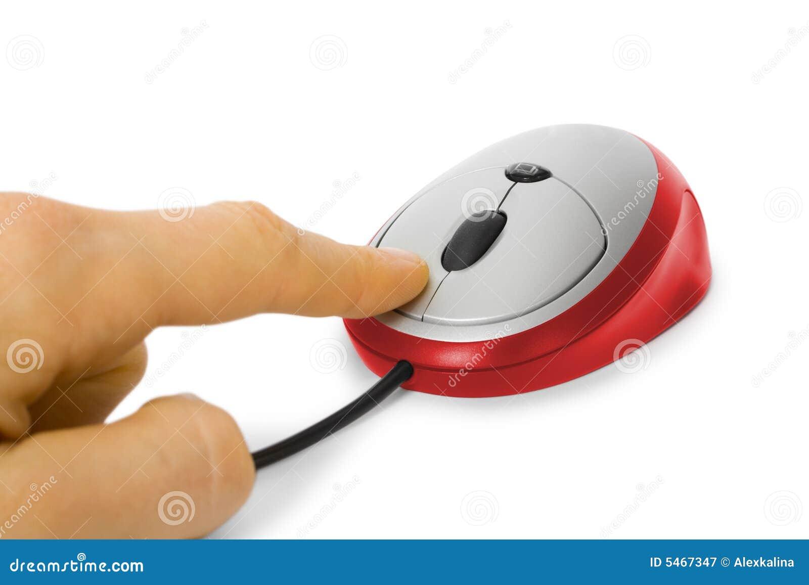 De muis van de computer klikt