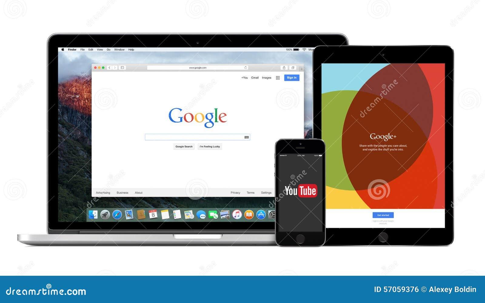 De multiapparaten van Google met Google-onderzoek YouTube en Google plus